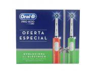 Pack 2 Cepillos Dentales Braun Oral-B Pro600 Oferta Especial - Naranja + Verde - Limpieza 3D - Protección Encías - Temporizador 2Min