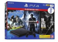 CONSOLA SONY PS4 SLIM 1TB + 3 JUEGOS (HORIZON ZERO DAWN - UNCHARTED 4 - THE LAST OF US)